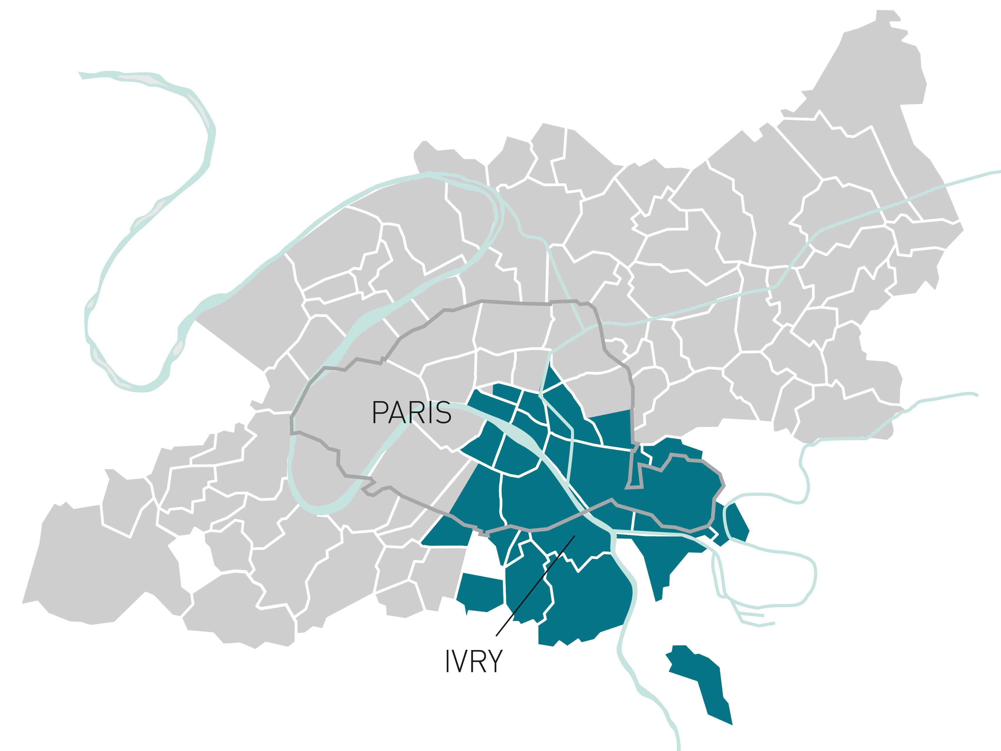 Les communes du bassin versant de l'usine à IVRY/PARIS XIII
