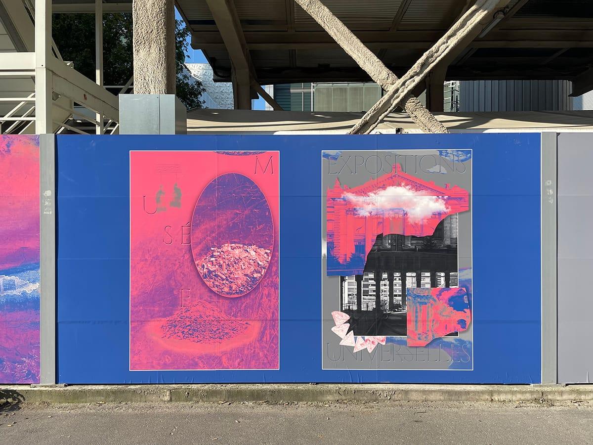 Exposition artistique sur palissades
